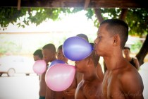 The challenge was to blow up the balloon without using one's own hands