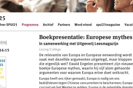 Ewald Engelen Spui25, boekpresentatie: Europese mythes In samenwerking met Uitgeverij Leesmagazijn