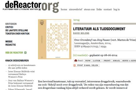 David Nolens in de Reactor: LITERATUUR ALS TIJDSDOCUMENT