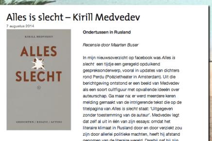 Alles is slecht – Kirill Medvedev, Ondertussen in Rusland  Recensie door Maarten Buser