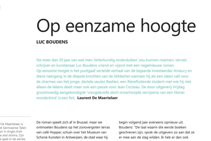 Laurent de Martelaer over Op Eenzame hoogte van Luc Boudens, Staalkaart