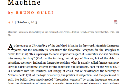 Leesmagazijn heeft de rechten verworven van de vertaling van Maurizio Lazzarato The Making of the Indebted Man Essay on the Neoliberal Condition