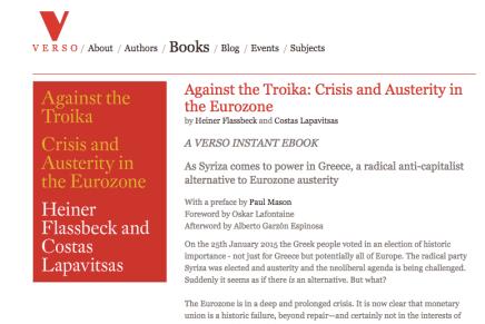 Leesmagazijn vertaald Against the Troika: Crisis and Austerity in the Eurozone door Heiner Flassbeck and Costas Lapavitsas