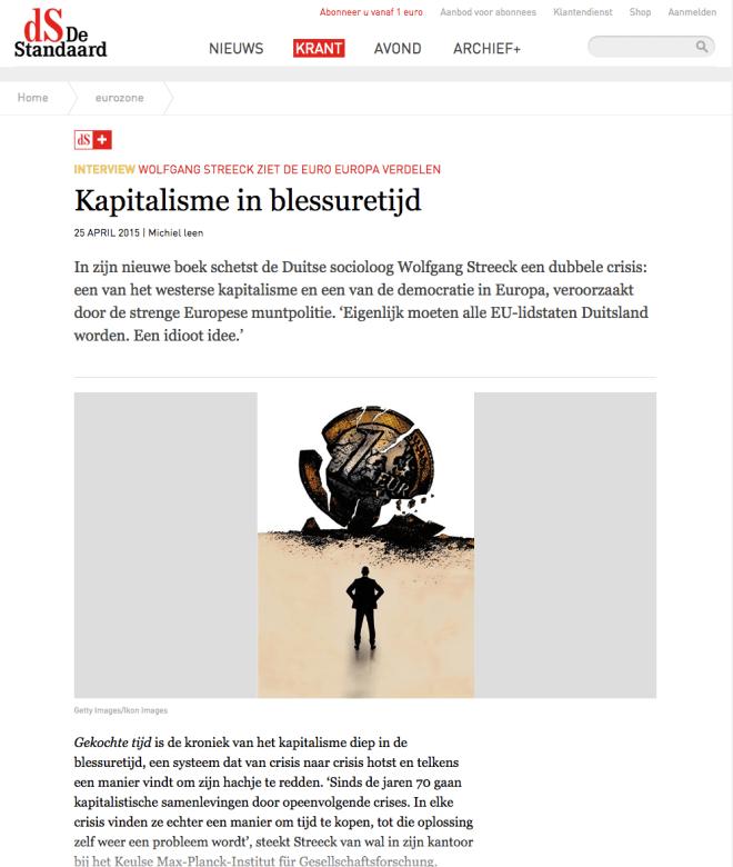 NTERVIEW WOLFGANG STREECK ZIET DE EURO EUROPA VERDELEN  Kapitalisme in blessuretijd 25 APRIL 2015 | Michiel leen