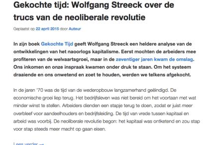 Gekochte tijd: Wolfgang Streeck over de trucs van de neoliberale revolutie, Mia Molenaar, in Lang Leve Europa, 22-4-15