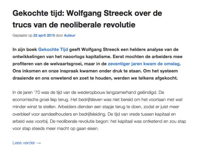 Gekochte tijd: Wolfgang Streeck over de trucs van de neoliberale revolutie, Wolfgang Streeck, Gekochte Tijd