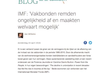 """IMF: Vakbonden remden ongelijkheid af en maakten welvaart mogelijk, Jan Willems noemt in De Wereld Morgen Gekochte Tijd """"schitterend boek"""""""