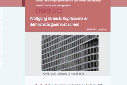 Wolfgang Streeck: Kapitalisme en democratie gaan niet samen, Mia Molenaar