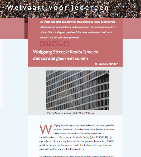 Wolfgang Streeck Welvaart voor iedereen