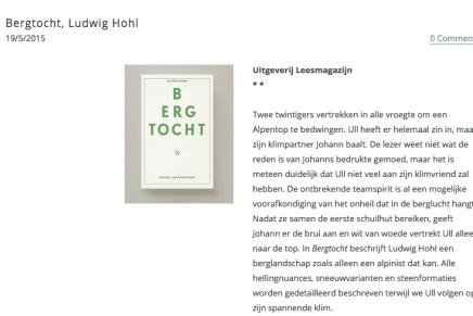 Over Bergtocht van Ludwig Hohl: 'Een literaire must die elke alpinistenuitrusting compleet maakt'.  Recensie Ibook, Dirk Degraeve