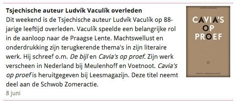Vaculik in Boekblad
