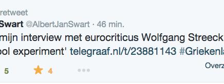 DFT heeft geretweet  Albert Jan Swart @AlbertJanSwart Interview met eurocriticus Wolfgang Streeck: 'De euro is een frivool experiment'  #Griekenland #Grexit