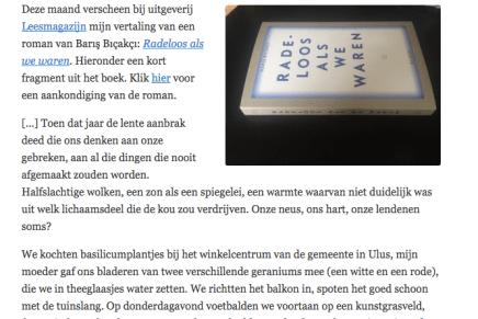 Barış Bıçakçı – Radeloos als we waren (fragment), Hanneke van der Heijden, Literatuur uit Turkije