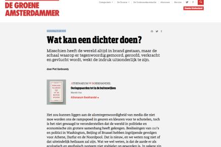 Wat kan een dichter doen?, Piet Gebrandy, woensdag 22 juli 2015, De Groene