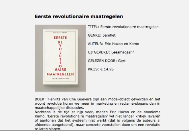 Eerste Revolutionaire Maatregelen, recensie.