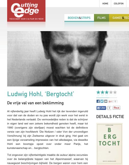 Ludwig Hohl, 'Bergtocht' De vrije val van een beklimming