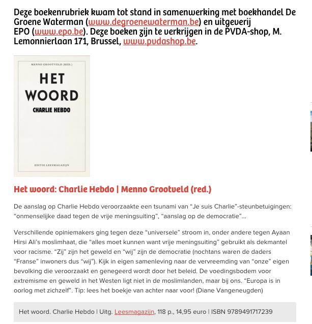 Charlie Hebdo Het Woord Redactie Menno Grootveld