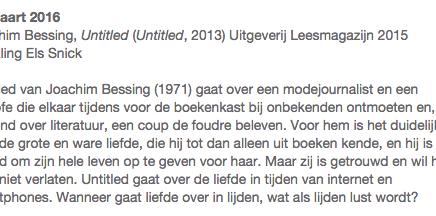 13 maart 2016 Goethe Institut Oostende Leesclub; Untitled van Joachim Bessing, vertaling Els Snick
