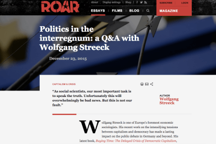 Politics in the interregnum: a Q&A with Wolfgang Streeck  December 23, 2015