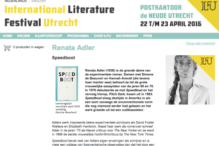 ILFU 23 april – Renata Adler  Speedboot