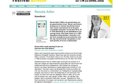 Renata Adler vanavond in Utrechtse Bibliotheek op ILFU