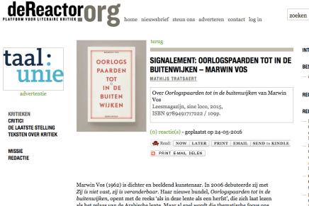 Oorlogspaarden tot in de buitenwijken – Marwin Vos, Mathijs Tratsaert, deReactor