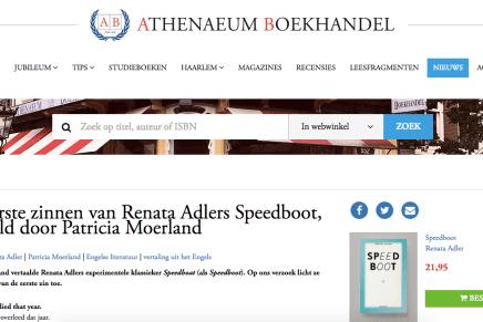 De eerste zinnen van Renata Adlers Speedboot, vertaald door Patricia Moerland