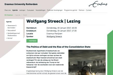 Wolfgang Streeck | Lezing, 19 Jan. @ EUR