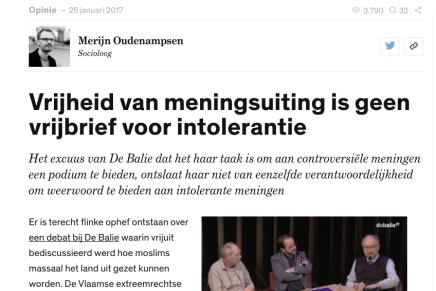 Vrijheid van meningsuiting is geen vrijbrief voor intolerantie, Merijn Oudenampsen@ Joop