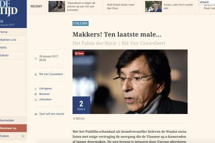 Makkers! Ten laatste male… Het Paleis der Natie | Rik Van Cauwelaert, De Tijd, 28-1-17