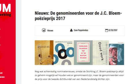 Nieuws: De genomineerden voor de J.C. Bloem-poëzieprijs 2017 Nieuws Coen Peppelenbos