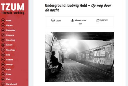 Underground: Ludwig Hohl – Op weg door de nacht, column Johannes van der Sluis
