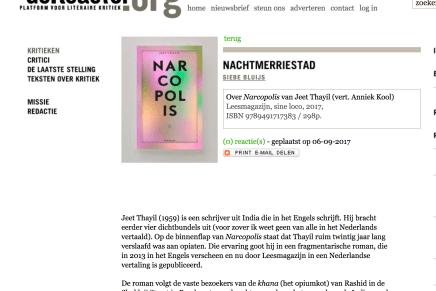Nachtmerriestad, Siebe Bluijs, Over Narcopolis van Jeet Thayil, vert. Anniek Kool, deReactor.org