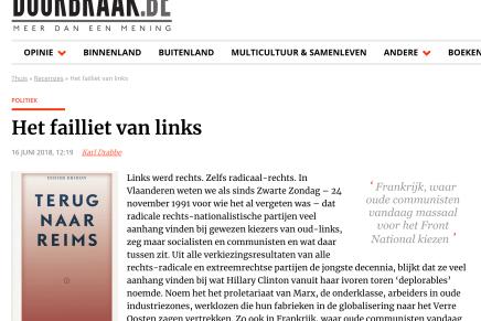Het failliet van links, Karl Drabbe, De Doorbraak, 16 juni, 2018