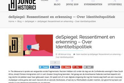 deSpiegel: Ressentiment en erkenning – Over Identiteitspolitiek