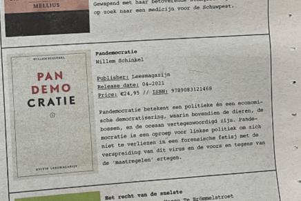 Pandemocratie, Willem Schinkel, tip, top 5, Amsterdam Alternative