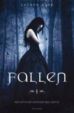 Cover van Fallen geschreven door Lauren Kate. We zien een huilend meisje in een donker bos, ze draagt een lange donkere jurk.