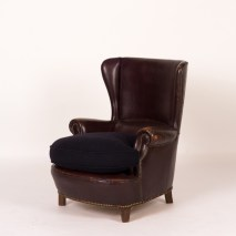 ITALIAN LEATHER CHAIR WITH UPHOLSTERED CUSHION BC88