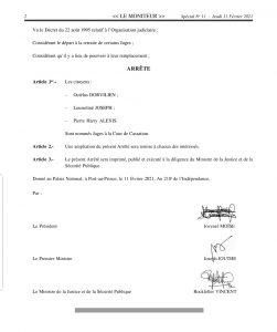 Haïti-Justice : 3 nouveaux juges nommés à la Cour de Cassation