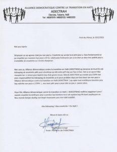 L'Alliance Démocratique contre la transition en Haïti appelle le CSPN à garantir la sécurité de la population