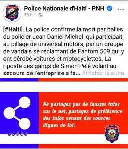Haïti-Insécurité : La PNH donne sa version sur l'assassinat du policier Jean Daniel Michel