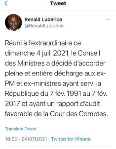 Haïti-Politique : Les ex-Premiers Ministres et Ministres de 1991 à 2017 reçoivent décharges du gouvernement