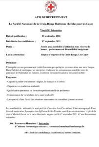 Haïti-Santé : La Croix-Rouge recrute