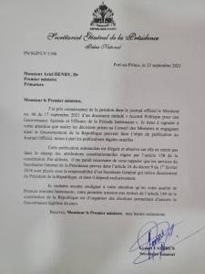 """Haïti : Bras de fer entre Lyonel Valbrun et le Premier Ministre après la publication de l'accord politique dans """"Le Moniteur"""""""