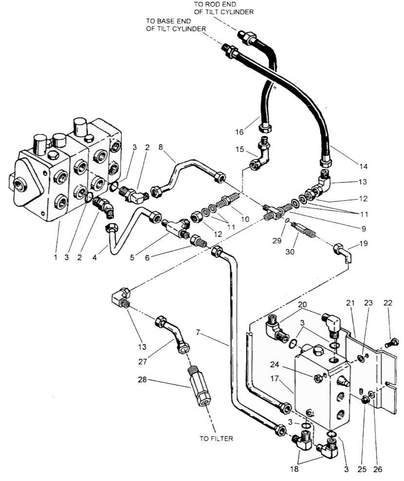 The diagram below shows how the valve connects to the bucket tilt cylinders the self leveling valve is in the bottom right corner