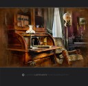 Victorian era desk and lamps