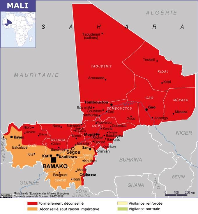 Carte de consignes de vigilance pour le territoire malien par l'ambassade de France à Bamako, mise à jour le 26 décembre 2019.