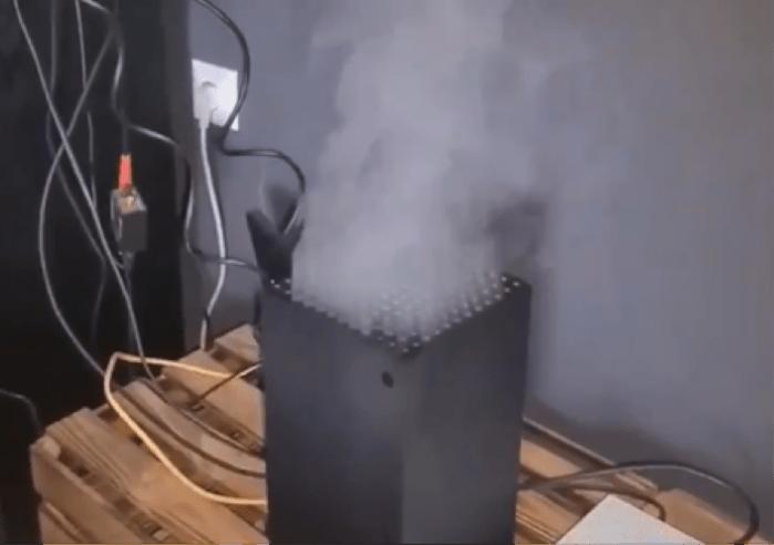 """Une console en """"fumée"""" - Photo : @opygam3r sur Twitter"""