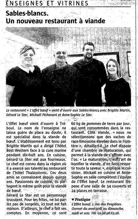 Le télégramme Douarnenez parle du restaurant L'Effet Boeuf
