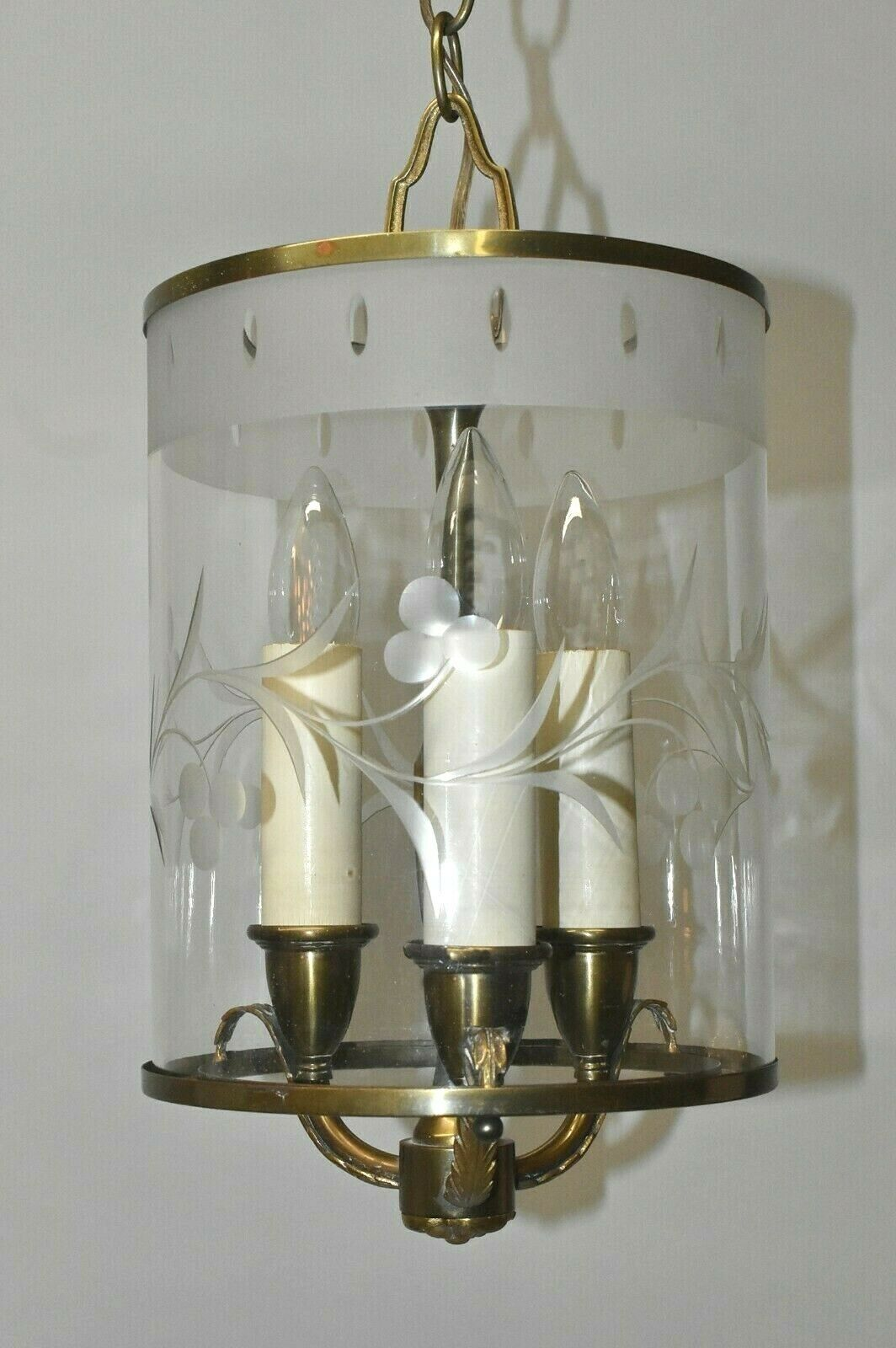 Brass With Etched Glass Cylinder Chandelier Light Fixture